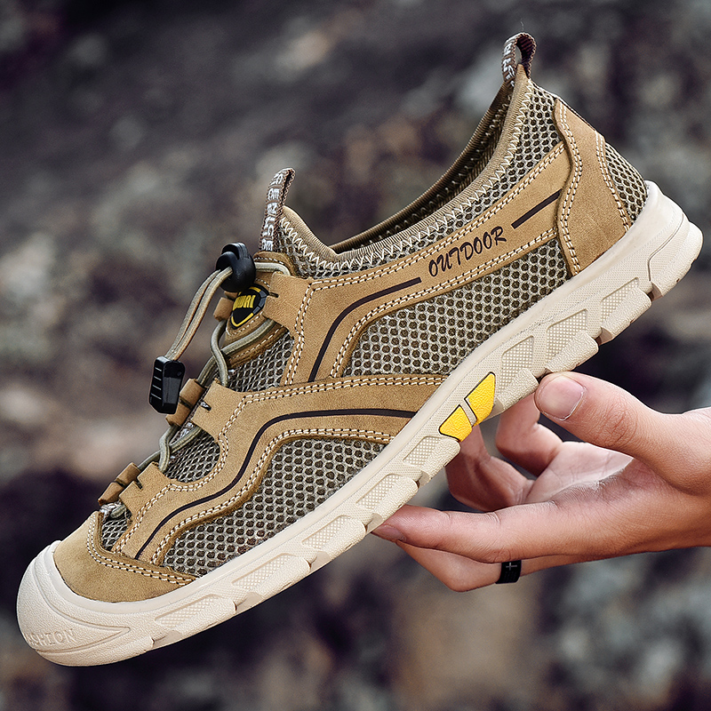 Summer Spring Men 39 s Shoes Mesh Casual Shoes Genuine Leather Breathable Outdoor Male Sneakers Walking Footwear Loafers sneaker in Men 39 s Casual Shoes from Shoes