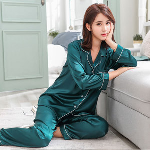 Image 2 - BZEL Couple Pajama Set Silk Satin Pijamas Long Sleeve Sleepwear His and her Home Suit Pyjama For Lover Man Woman Lovers Clothes