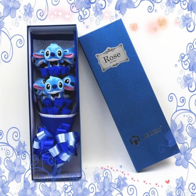 Encantador Dos Desenhos Animados do Ponto Plush Toys ponto Buquê com Flores Artificiais Para Decoração de Festa de Casamento Dia Dos Namorados