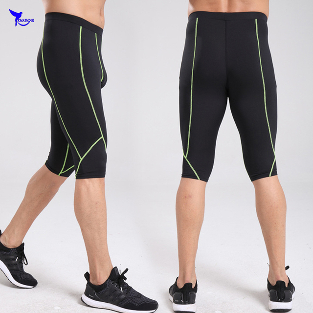206a6212f2847 2019 New Mens Compression Running Shorts Under Base Layer Jogging Tights  Gym Fitness Knee High Pants Elastic Breathable Leggings
