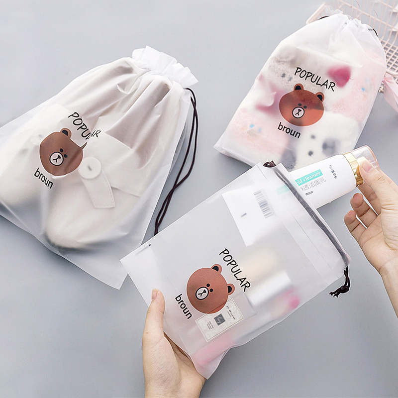 Cute Brown Bear PVC Transparent Cosmetic Bag Travel Organizer Storage Pouch Makeup Bags Drawstring Waterproof Toiletry Wash Kits
