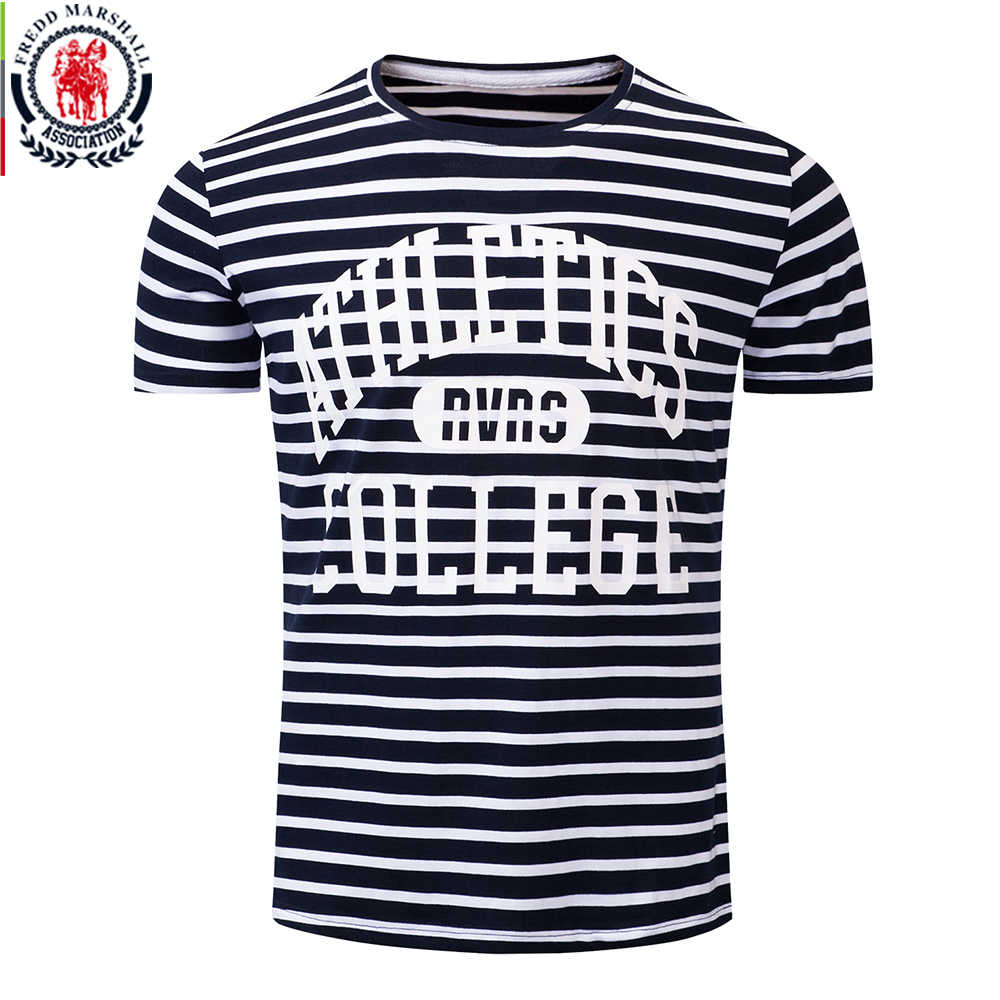 Fredd Marshall New Fashion 2018 Summer Print T-shirt Men Short Sleeve Casual Striped T shirt 100% Cotton Brand Men Tops Tees 316