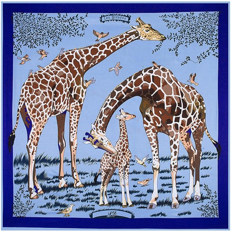 New Twill Silk Women Scarf 130*130 Cm Euro Design Floral Animal Giraffe Print Square Scarves High Quality Gift Fashion Shawls