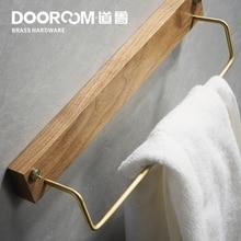 Dooroom Black Walnut Brass Punch Free Towel Holder Nodic Ins Bathroom Single Hang Lever