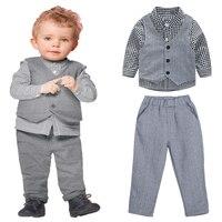 3pcs Kids Children Clothing Boys Gentlemen Cotton Clothes Long Sleeve Shirt Vest Pants Outfit Set Baby Boy Clothes