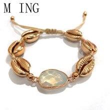Pulsera de concha Vintage MLING para mujer, pulsera de oro, brazaletes, joyería femenina ajustable, regalos Boho