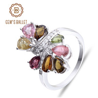 Gem S Ballet Natural Tourmaline 925 Sterling Silver Rings For Women Trendy Romantic Flower Wedding Engagement