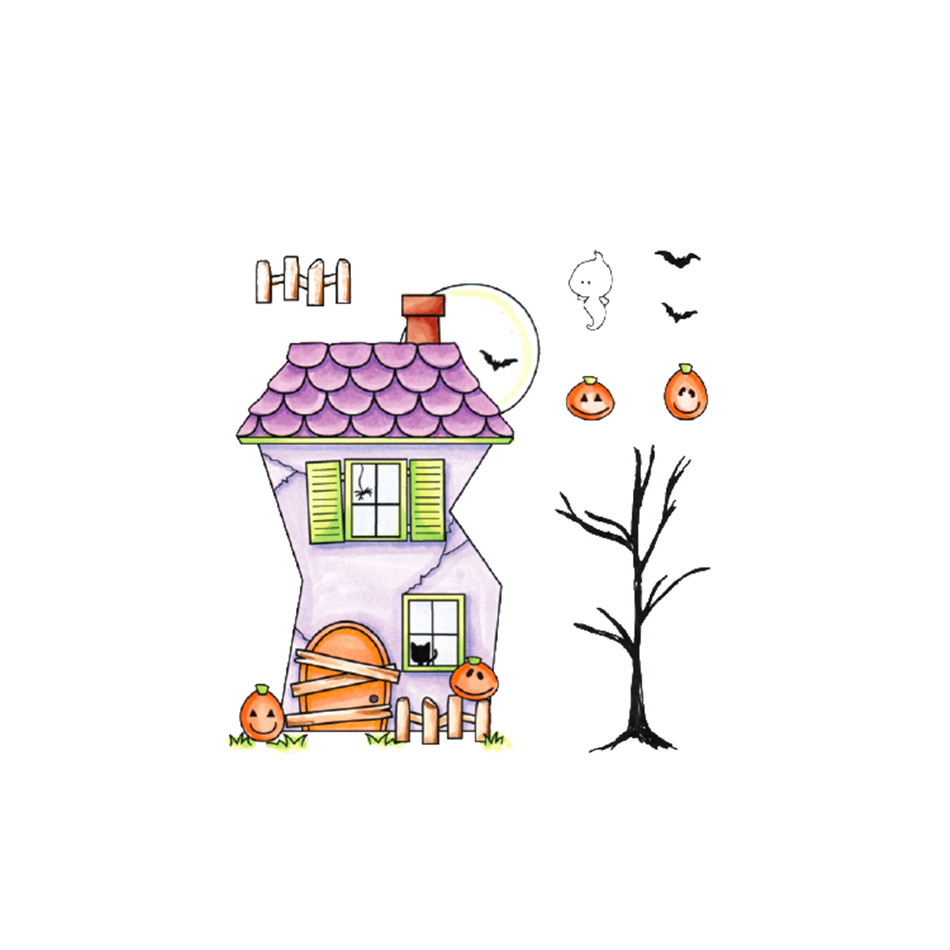 InLoveArts <font><b>Halloween</b></font> Haunted House Transparent Clear <font><b>Stamps</b></font> <font><b>and</b></font> <font><b>Dies</b></font> 2019 for Card Scrapbooking DIY Album Embossing Paper Craft image