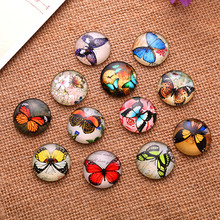 50Pcs Mixed Butterfly Papillon Round Glass Cabochons Cameos Dome Seals Embellishments Crafts Making 12mm