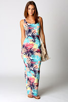 Women Summer Dress Free Shipping Print Maxi Dress M XL 3S2320 Womens Petite Jenny Tropical Print