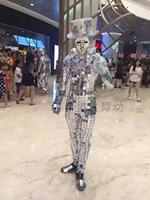 Men Silver Mirror Suit Catwalk Show Stage wear Ballroom Dance Costumes Clothes Party Performance DJ Outfits Bar Jacket Mask