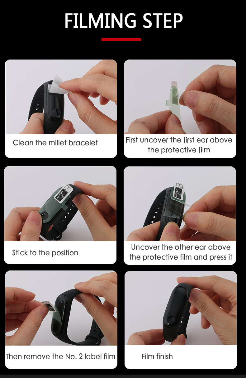 1 Pcs Protective Film For Xiaomi Mi Band 4 Smart Wristband Bracelet Full Screen Protector Hydrogel Film in Smart Accessories from Consumer Electronics