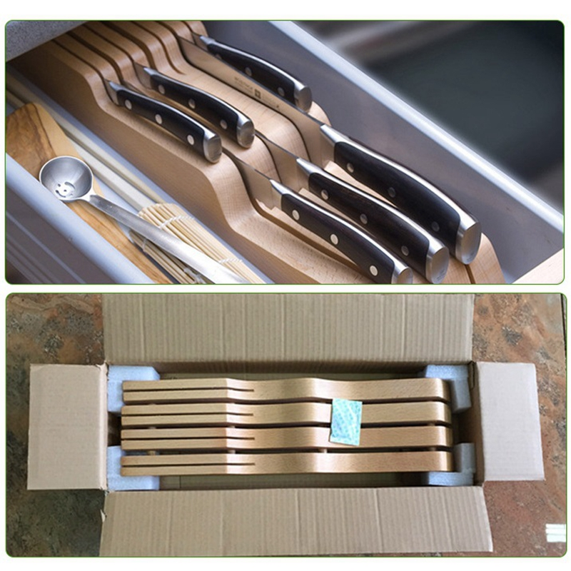 Creative Wooden Stand For Chef Knife Holder Fruit Knives Block Storage Drawer Utensil Organizer Space Saving Kicthen Accessories in Blocks Roll Bags from Home Garden