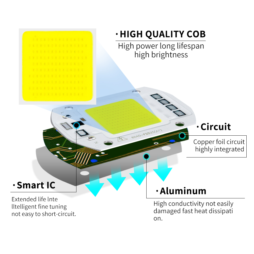 Image 3 - LED COB Lamp 10W 20W 30W 50W Real AC 220V 230V IP65 Smart IC DIY LED Bulb Flood Light Spotlight For Projectors Driver Light-in LED Bulbs & Tubes from Lights & Lighting