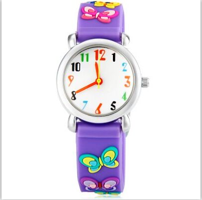 free shipping wholesale superman watch quartz cartoon children 3d watch 1pcs Lovely Children Quartz Watch Cute Cartoon 3D Little Butterfly Wristwatch Fashion Rubber Environmental Waterproof Girl Watch