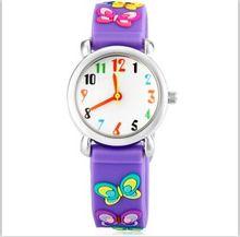 Прекрасные дети кварцевые часы милый мультфильм 3D маленькая бабочка Наручные часы модные резиновые окружающей среды Водонепроницаемый девушка часы