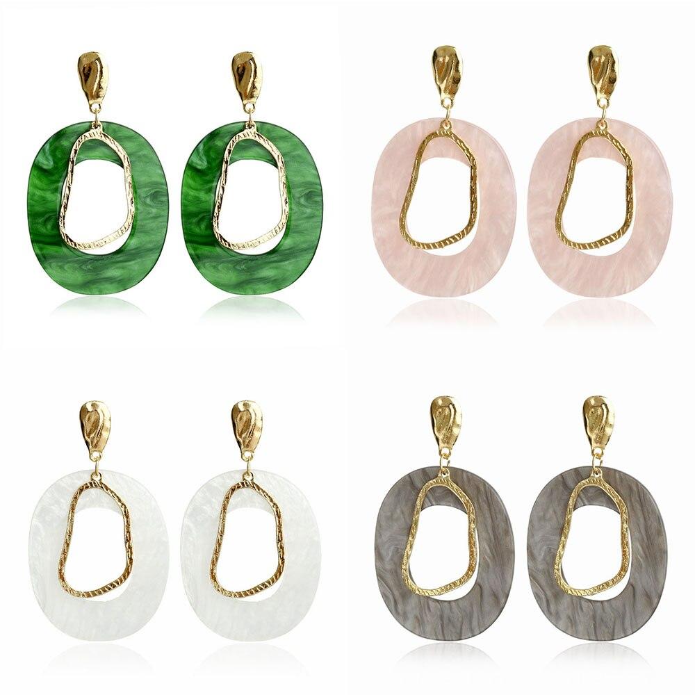 Acrylic Drop Dangle Bohemian Earrings 19 Big Statement Earrings for Women Resin Oval Square Geometric Boho Earrings Jewelry 7