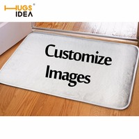 HUGSIDEA Customized Front Entrance Door Mats Personalized Flannel Carpets Anti Slip Water Proof Kitchen Bath Bedroom