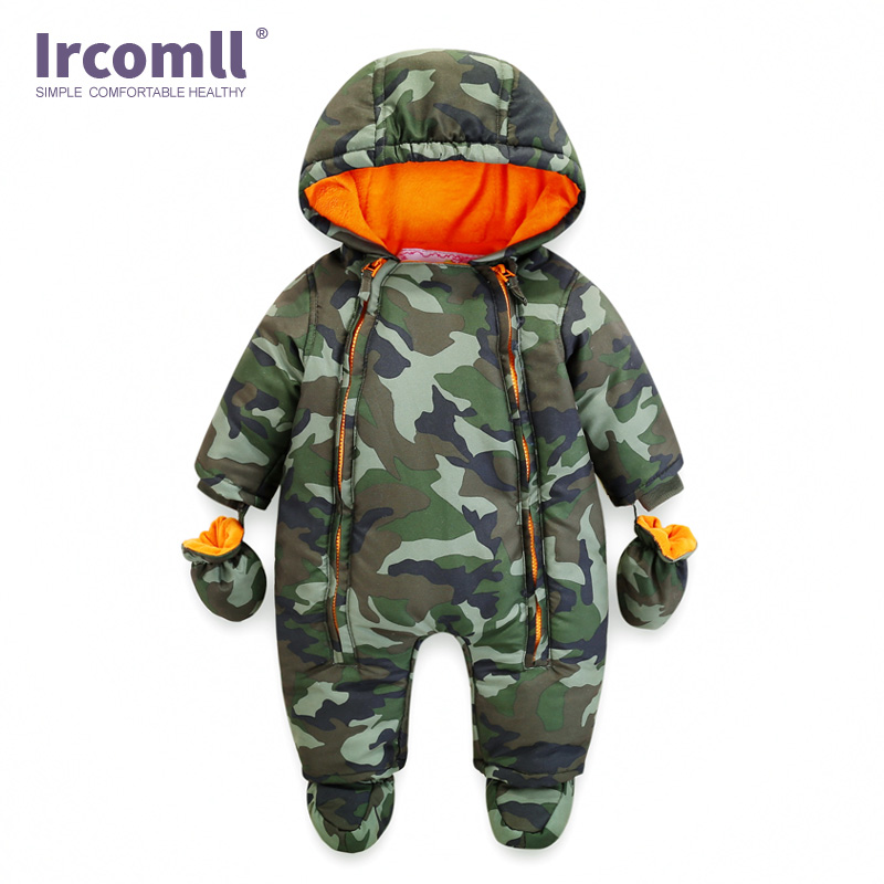 Ircomll 2018 Newborn Baby Rompers Winter Thick warm Kid Baby Girls Boys Infant Clothing Camo Flower Hooded Jumpsuit Kids Outwear 2017 new baby rompers winter thick warm baby boy clothing long sleeve hooded jumpsuit kids newborn outwear for 0 12m baby girls