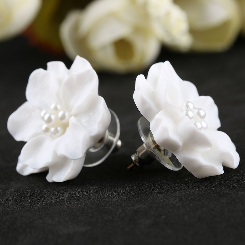 1 Pair New Fashion Big White Flower Earrings For Women Jewelry