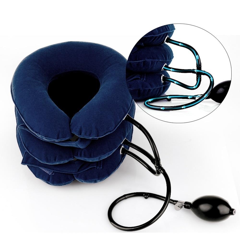 Stock tamaño Universal inflable Cervical cuello dispositivo de tracción para el alivio del dolor de cuello la camilla almohada dolor Releave