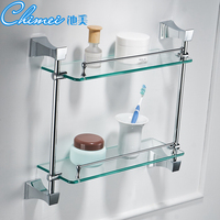 Modern European Bathroom Hardware Set Double Copper Glass Shelves Bathroom Racks Bathroom Accessories YM080