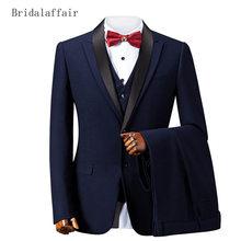 Bridalaffair Fashion Mens Suits Prom Wedding Groom Suit 3Pcs (Jacket+Pants+Vest) Navy Blue Slim Fit Formal Luxurious Men Tuxedo