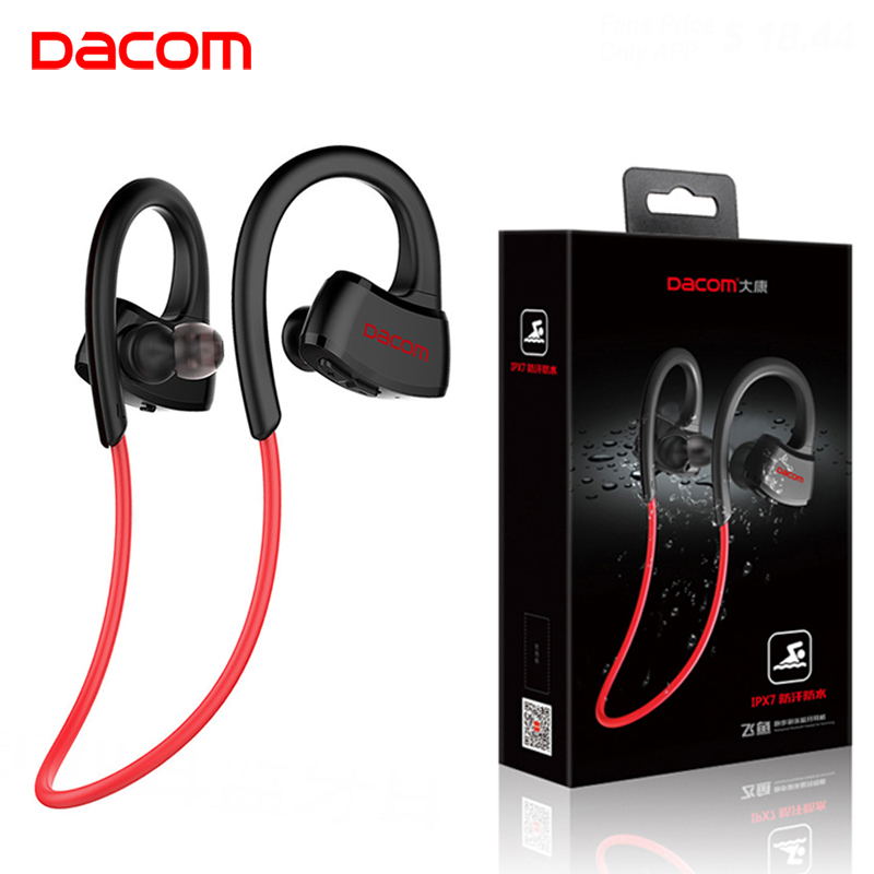 DACOM P10 MP3 Teléfono de jugador estéreo de auriculares de deporte inalámbrico Bluetooth Auriculares auriculares con 512 M de memoria IPX7 correr impermeable