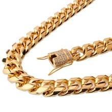 15mm 7-40 Hot Sale Stainless Steel Link Cubic Zircon Gold Tone Miami Cuban Curb Chain Mens Womens Necklace Or Bracelet Jewelry
