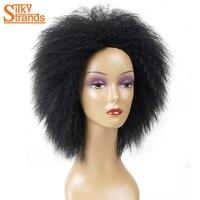 Silky Nici Afro Perwersyjne Kręcone Peruki Syntetyczne Kanekalon Peruka Dla Kobiet Kolory Czarny Brązowy Krótkie Damskie Czarne Naturalne Peruki Kobiet