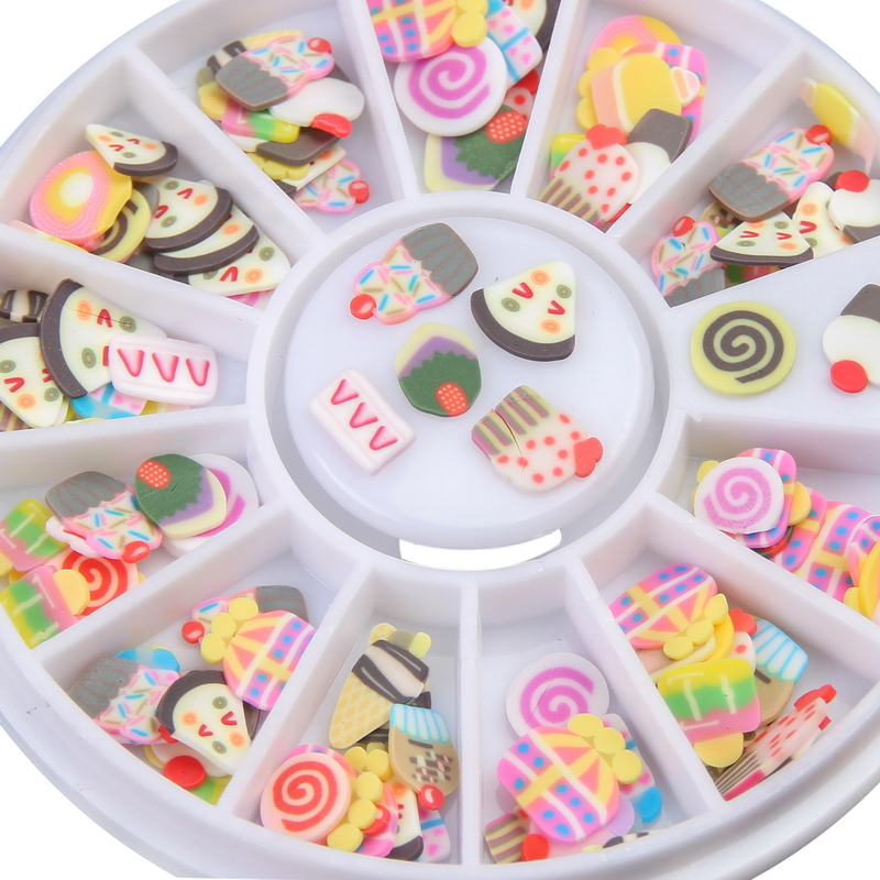 ELESSICAL 1 Wheel Colorful Cake Design Fimo Nail Stickers Lovely ...