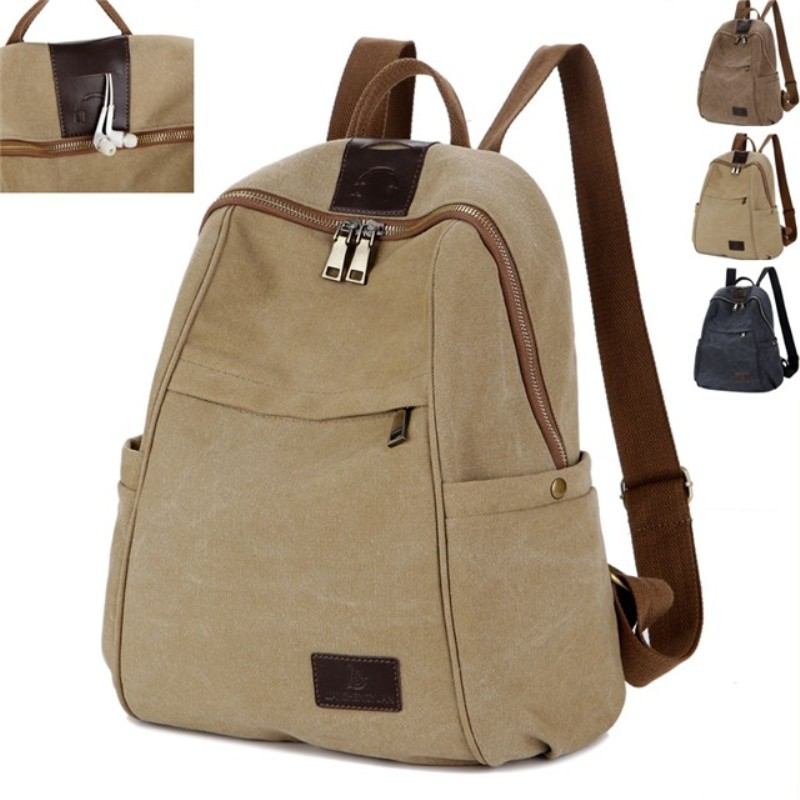 Large capacity new retro tide girls canvas backpacks bags for women knapsack fashion backpack men travel bag khaki brown black рубашка мужская only & sons цвет белый 22008733 размер m 48