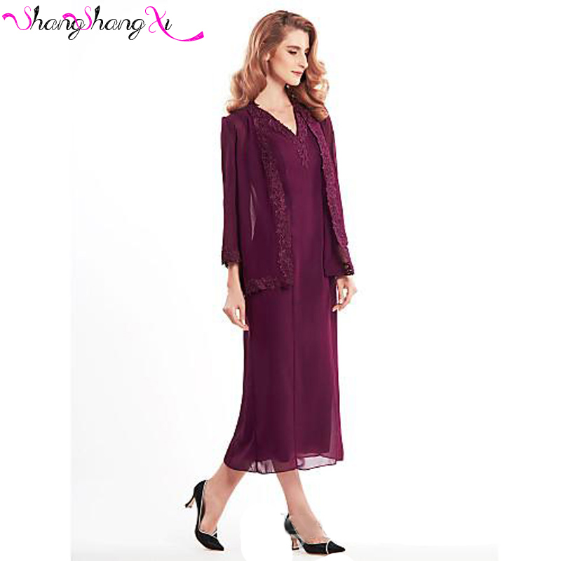 daac37b82 Burgundy Chiffon Mother of the Bride Pant Suits 2017 Jackets Lace Beach  Wedding Mothers Groom Dress Bridal Guest Dress MZ003-in Mother of the Bride  Dresses ...
