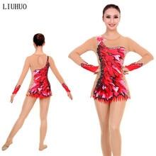 Mallas de gimnasia rítmica para mujer, traje de rendimiento para niña, vestido de gimnasia artística, manga larga, cuello redondo, elástico rojo