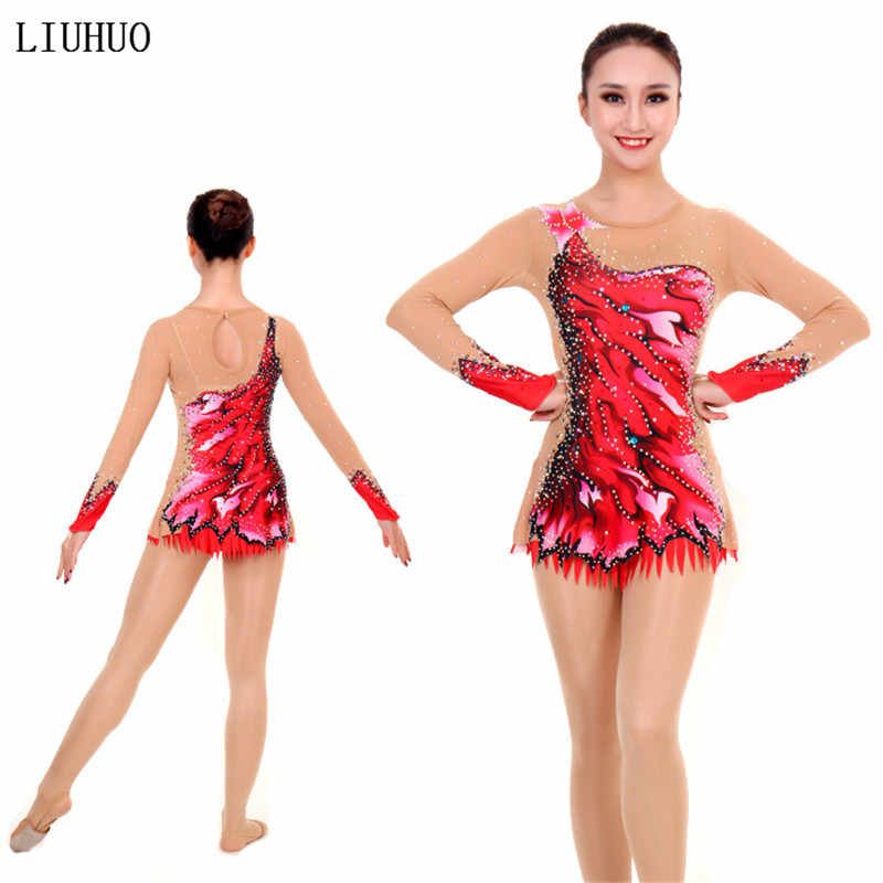 Women rhythmic gymnastics leotards for girls performance suit Artistic gymnastics dress Long sleeve Round neck Red Stretch