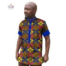 Custom Clothing African Print Wax Mens Short Sleeve Shirts Dashiki Shirt  Casual Style Plus Size African Clothing Hot Sale WYN27 f350dbe09207