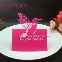 DIY Laser Cut Paper love bird Name Place Card Wedding Table Holder For Party Decor Number Invitation Card, 50pcs