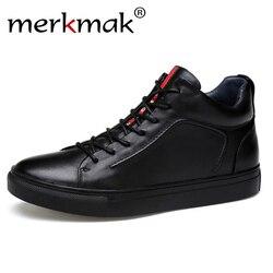 Merkmak Genuínos Homens de Couro Homens Sapatos Tênis Casuais Ankle Boots Moda À Prova D' Água Para Os Homens de Alta Top Homens Sapatos de Inverno Tamanho 47