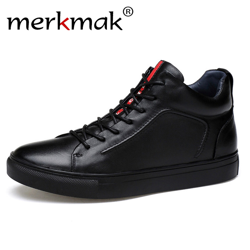 Merkmak Genuine Leather Men Waterproof Shoes Men Casual Sneakers Fashion Ankle Boots For Men High Top Winter Men Shoes Size 47 newest designer men s fashion camouflage ankle buckle casual shoes for men high top shoes platform motorcycle men shoes