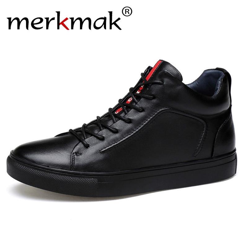 Merkmak Genuine Leather Men Waterproof Shoes Men Casual Sneakers Fashion Ankle Boots For Men High Top Winter Men Shoes Size 47