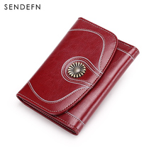 Retro Women Wallet Quality Large Capacity Card Split Leather Female Holder Button Purse Flower Hardware