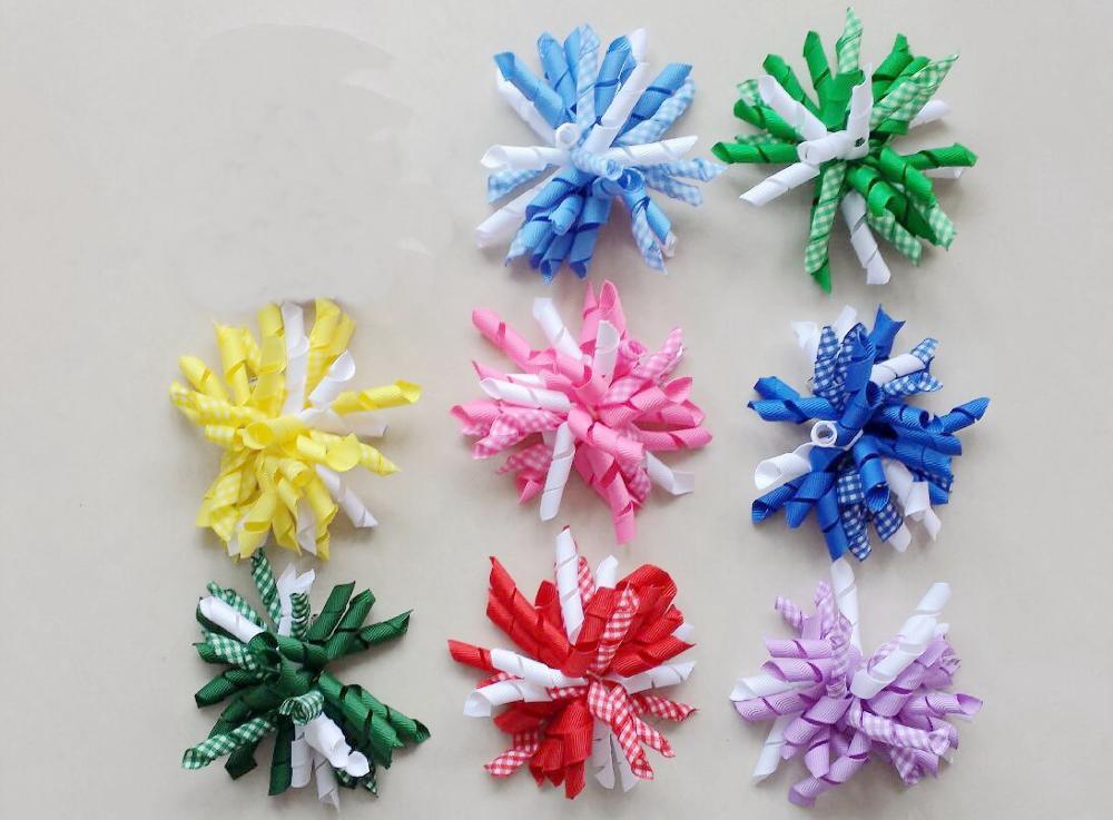 Curly Gingham Plaid Ribbon Korker ponytail holders streamer corker Hair Bows clip bobbles Plaid Tassel Hair