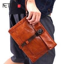 AETOO Mens handbag casual leather handmade clutch bag mens new large-capacity retro male tide