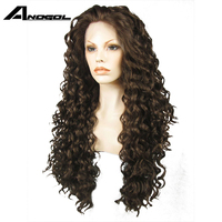 Anogol High Temperature Fiber Natural Hair Wigs Glueless 6# Mixed 8# Long Kinky Curly Synthetic Lace Front Wig with Free Part