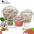 Arshen 3 Größen Spice Gewürz Tasche Tee Sieb Angekettet Deckel Edelstahl Mesh Ball Tee Kaffee Filter Korb Infuser Werkzeuge