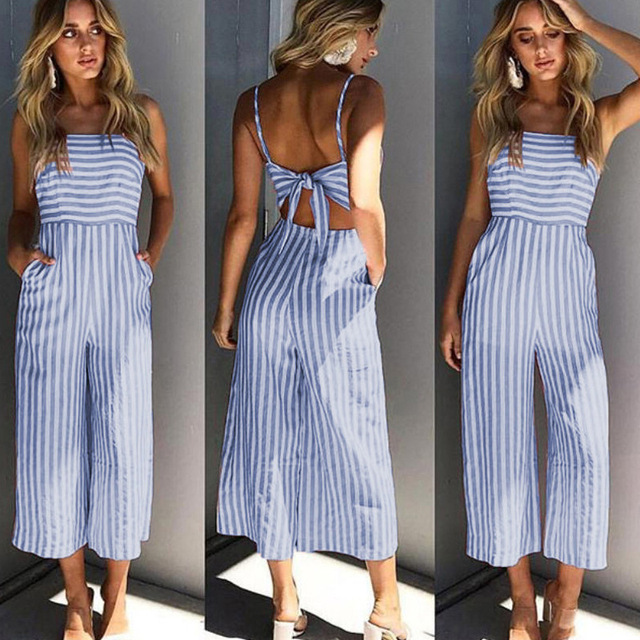 3a0a442fd98 Fashion Elegant Sleevelss Romper Women Jumpsuits Pants Ladies Pink Blue Red Striped  Halter Women Romper Jumpsuit Female Overalls