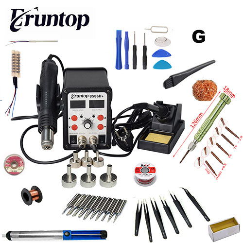 New Eruntop 8586D Double Digital Display Electric Soldering Irons Hot Air Gun SMD Rework Station Upgraded