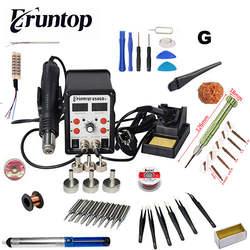 Новый Eruntop 8586D + двойной цифровой дисплей Электрический паяльники фена SMD паяльная станция обновлен от 8586