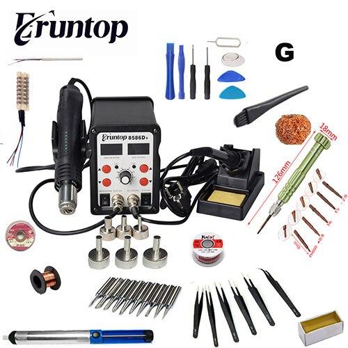 Nova Eruntop 8586D + Duplo Display Digital Ferros De Solda Elétrica + Pistola de Ar Quente Estação de Retrabalho SMD Atualizado a partir de 8586