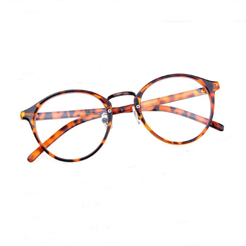 Women Round Leopard Eyewear Glasses Frame Female Fashion ...